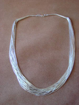 "Southwestern Jewelry 20 Strand Liquid Sterling Silver 16"" Necklace"
