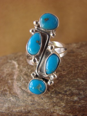 Native American Jewelry Sterling Silver Turquoise Ring! Size 9 Roberta Begay
