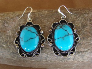 Native American Nickel Silver Turquoise Dangle Earrings by Jackie Cleveland