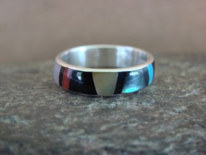 Zuni Indian Sterling Silver Multistone Inlay Band Ring by Ukestine Size 5