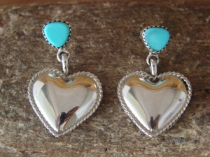 Native American Sterling Silver Hand Stamped Turquoise Heart Earrings