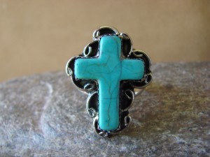 Native American Nickle Silver Turquoise Ring Size 8, by Phoebe Tolta