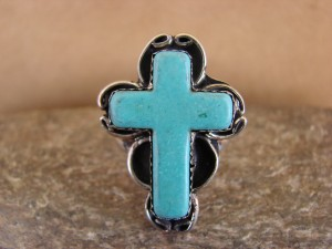 Native American Nickle Silver Turquoise Cross Ring Size 9, by Phoebe Tolta