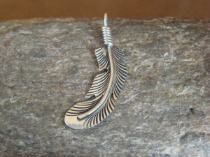 Navajo Indian Jewelry Handmade Sterling Silver Feather Pendant Louise Joe