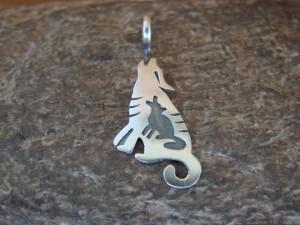 Navajo Indian Sterling Silver Wolf Pendant by Robert Gene