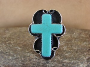 Native American Nickle Silver Turquoise Cross Ring Size 7, by Phoebe Tolta