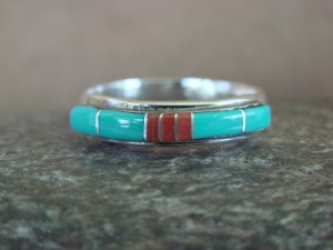 Zuni Indian Sterling Silver Turquoise Coral Inlay Ring by Natchu Size 7 1/2