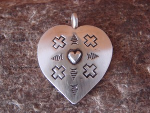 Native American Jewelry Sterling Silver Heart Pendant! Navajo Indian