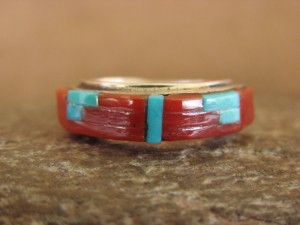 Zuni Indian Sterling Silver Turquoise Coral Inlay Ring by Natchu Size 5