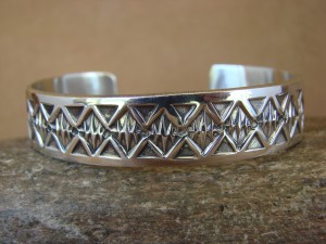 Native American Jewelry Hand Stamped Sterling Silver Bracelet by Maloney!