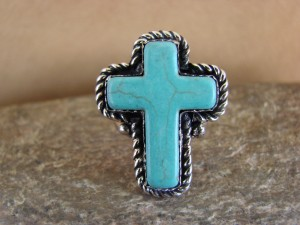 Native American Nickle Silver Turquoise Cross Ring Size 6 1/2, by Phoebe Tolta