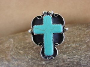 Native American Nickle Silver Turquoise Cross Ring Size 8 1/2, by Phoebe Tolta