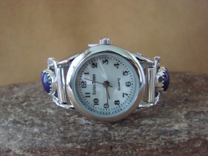 Native American Indian Jewelry Sterling Silver Lapis Watch by Etta Larry