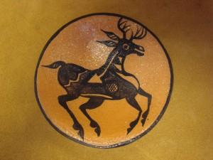 Santo Domingo Indian Pottery Handmade Deer Plate by Lovajo! Pueblo Hand Coiled