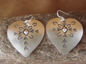 Native American Sterling Silver Hand Stamped Heart Earrings by Julie Smith