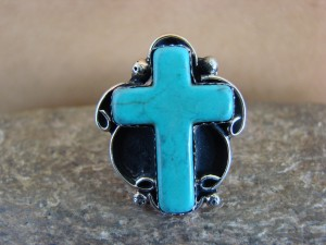 Native American Nickle Silver Turquoise Cross Ring Size 8, by Phoebe Tolta