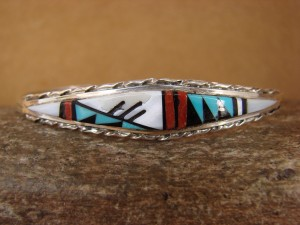 Zuni Indian Sterling Silver Turquoise, Coral, & Pearl Inlay Bracelet! Lucio