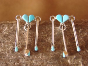 Zuni Indian Jewelry Sterling Silver Turquoise Inlay Heart Post Dangle Earrings