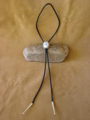 Native American Jewelry Sterling Silver White Howlite Bolo Tie