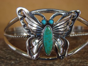 Native American Indian Jewelry Sterling Silver Turquoise Butterfly Bracelet