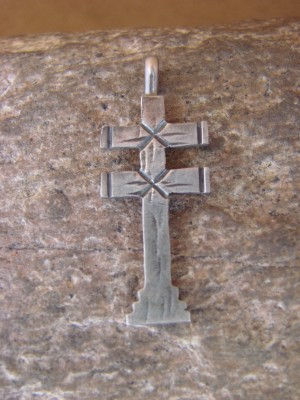 Navajo Indian Hand Stamped Sterling Silver 2 Sided Cross Pendant! Virgil Begay