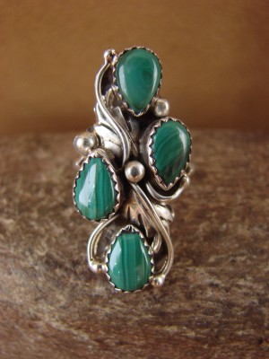 Native American Jewelry Sterling Silver Malachite Ring! Size 7 Begay