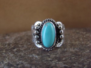 Native American Indian Jewelry Sterling Silver Turquoise Ring, Size 6 1/2 Mariano