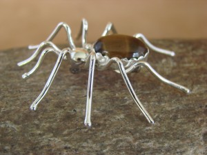 Navajo Indian Sterling Silver Tiger Eye Spider Pin by Spencer! Jewelry