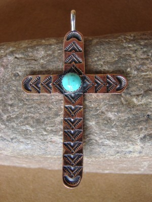 Native American Copper & Turquoise Cross Pendant Albert Cleveland