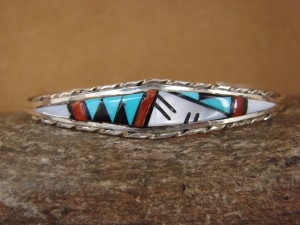 Zuni Indian Sterling Silver Turquoise, Coral, & Pearl Inlay Bracelet! QLB