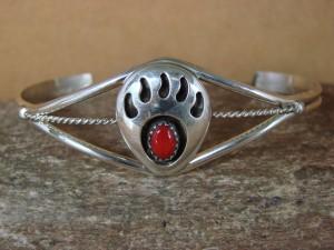 Navajo Indian Sterling Silver Coral Bear Paw Bracelet! Leta Parker