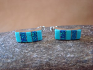Zuni Indian Jewelry Sterling Silver Turquoise Opal Inlay Post Earrings!