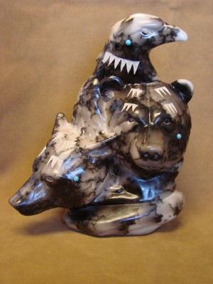 Native American Pottery Large Horse Hair Predator Sculpture by Vail! Navajo