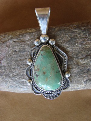 Native American Sterling Silver & Turquoise Pendant Albert Cleveland