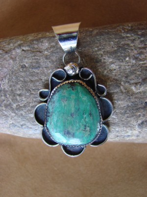 Native American Nickle Silver & Turquoise Pendant Albert Cleveland