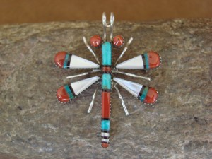 Zuni Indian Sterling Silver Turquoise & Coral Dragonfly Pendant! Wayne Haloo