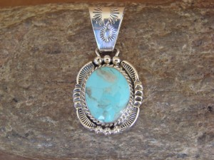 Native American Indian Jewelry Sterling Silver Turquoise Pendant! Navajo 2