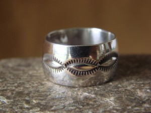 Navajo Indian Jewelry Sterling Silver Band Ring Size 8 by Cadman