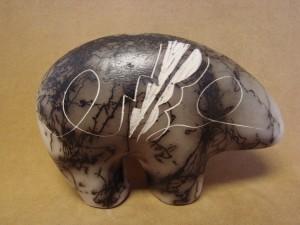 Native American Indian Pottery Horse Hair Bear! Navajo