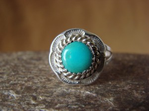 Native American Jewelry Sterling Silver Turquoise Ring! Size 8 1/2 F. Martinez