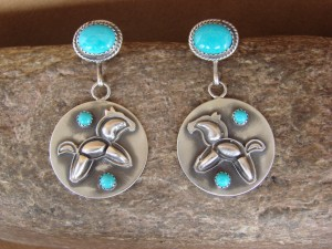 Navajo Indian Jewelry Sterling Silver Turquoise Hand Stamped Horse Earrings! by S. Jack