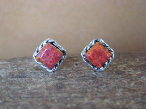 Native American Jewelry Sterling Silver Fire Opal Post Earrings! Zuni Indian