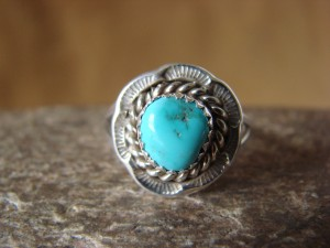 Native American Jewelry Sterling Silver Turquoise Ring! Size 7 1/2 F. Martinez