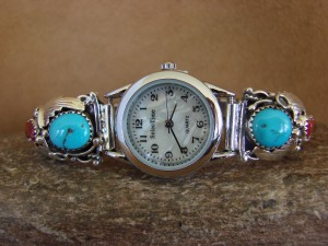 Native American Indian Jewelry Sterling Silver Turquoise Coral Lady's Watch