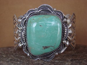 Navajo Indian Sterling Silver Turquoise Bracelet by Albert Cleveland!