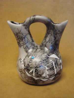Navajo Indian Horsehair Hand Etched Kokopelli Wedding Vase! Edsitiy