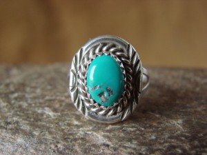 Native American Jewelry Sterling Silver Turquoise Ring! Size 6 F. Martinez