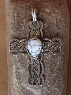 Native American Nickel Silver & White Howlite Cross Pendant Albert Cleveland