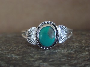 Native American Indian Jewelry Sterling Silver Turquoise Ring, Size 9 Mariano