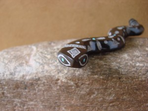 Zuni Indian Hand Carved Black Marble Etched Rattle Snake Fetish by Russel Shack